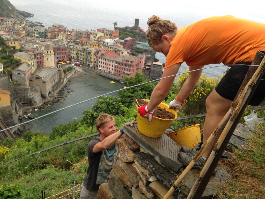 Passing dirt buckets above Vernazza