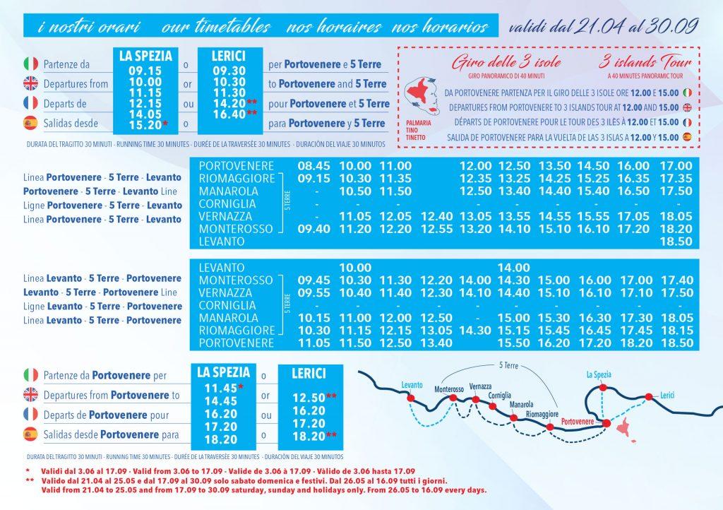 ferry cinque terre timetable